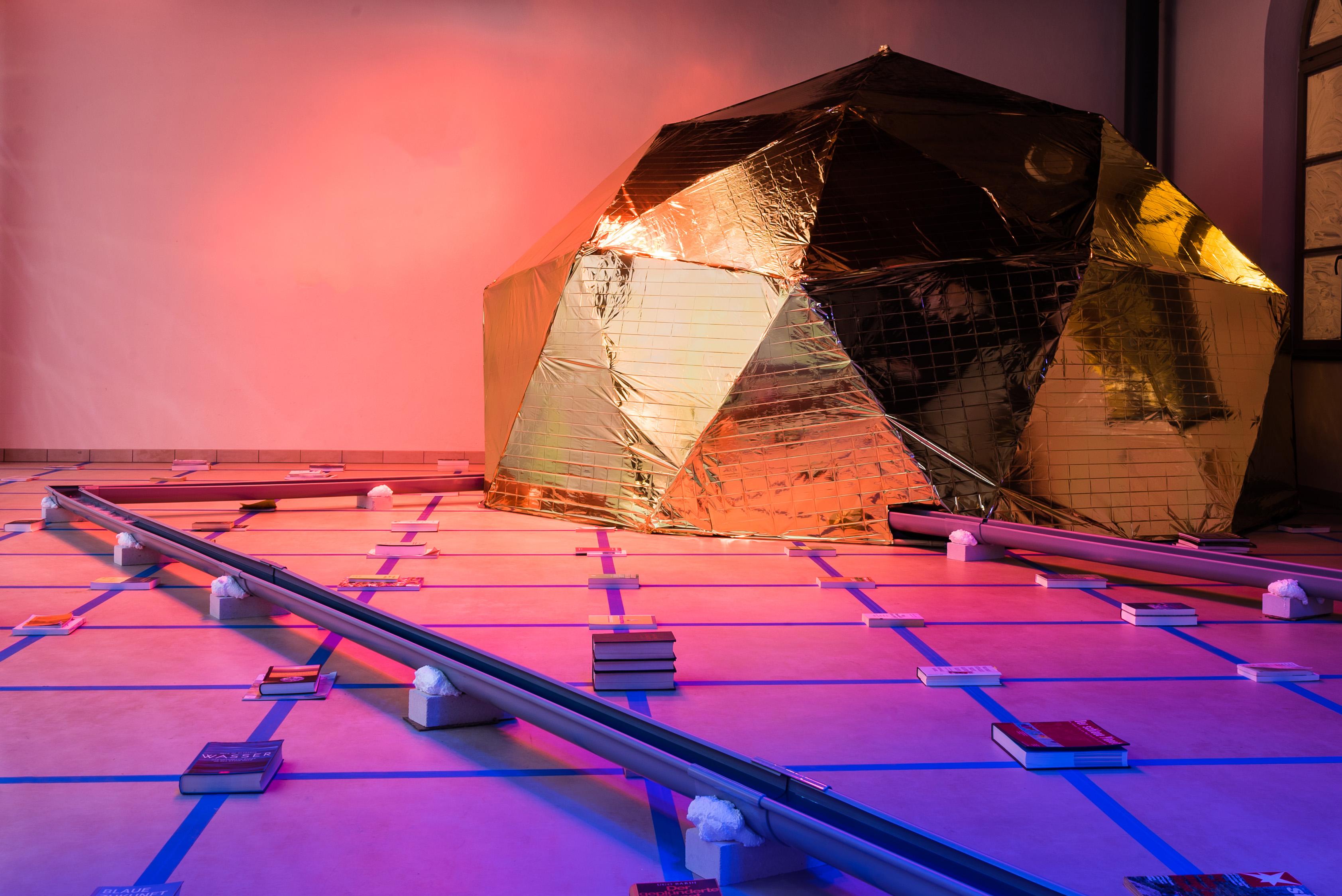 Apocalypse A_AP @Biennale Halberstadt 2018, Marius Förster, Jacqueline Hen, Installation Art, Geodestic Dome, Temporary Libary